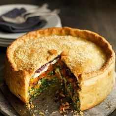 Butternut squash, spinach and goat's cheese pie with cheesy pastry recipe. This wonderfully warming vegetarian pie is a great alternative to a Sunday lunch. You can also freeze it.