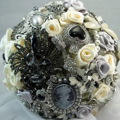 Black and white brooch bouquet