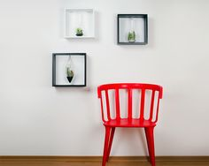 Framed airplant terrariums and red chair. Decorate your walls with this… Green Design, Decor, Wall, Red Chair, Chair, Furniture, Air Plants, Home Decor, Room