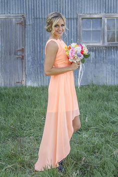 2016 Mint Orange Country High Low Bridesmaid Dresses Under 100 Knee Length Hi Lo C Chiffon Beach Junior Maid Of Honor Bridesmaids Dress