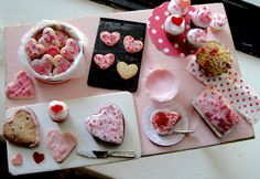 Dollhouse miniature Valentines baking by Kimsminibakery on Etsy