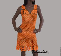 Купить или заказать Вязаное платье в интернет-магазине на Ярмарке Мастеров. Платье связано крючком из хлопка с вискозой. Можно сделать из другой по составу пряжи. Длина 80 см. Возможно выполнение в другом цвете и любого размера и длины. Для уточнения ст…
