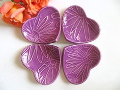 Party Favor, ring dish, Set of 4 ceramic jewelry holders, purple flowers, Trinket dish, ring holder, Party Favor, jewelry tray, Flower, PoshPosyCeramics, Posh Ceramics, Floral Wedding,
