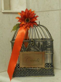 Burnt Orange Wedding Birdcage/Cardholder by YesMoreFunk on Etsy, $40.00