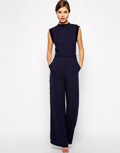 Blue Navy Warehouse Wide Leg Trouser Jumpsuit ASOS $145