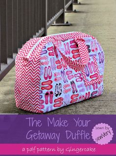Getaway Duffle Bag -- pattern is f/s from Gingercake but I'm pinning this for inspiration - bag is similar to the cargo duffle I've been making, and the shape of the front/back pieces could be modified to a shape similar to this one ... I like it :)