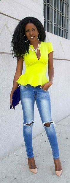Neon Peplum Ripped Jeans By Style Pantry