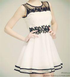 """stylelist-tidebuy: """" New Glamorous Chiffon Mesh Patchwork Lace Dress """""""