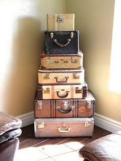 Old suitcases are the best!  Love this idea