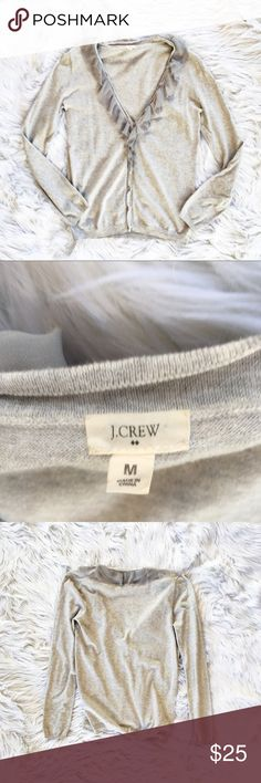 "J. Crew ruffled cardigan V-neck cotton cardigan with ruffled tulle trim along the neckline, size medium from J. Crew Factory. Excellent condition. Flat measurements are bust 19.5"", length 26"". J. Crew Factory Sweaters V-Necks"