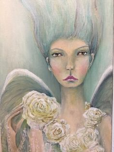 Original Mixed Media Fantasy Fairy Elf  Girl Painting Sujati Art Studio by VividSpirit on Etsy