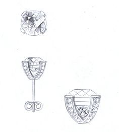 Bella Luce sketches for stud earrings