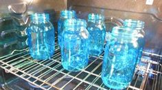 Easiest way to tint glass with only 3 ingredients. Mason jars, candle sticks, up cycled jars Easiest way to tint glass with only 3 ingredients. Mason jars, candle sticks, up cycled jars Mason Jar Projects, Mason Jar Crafts, Diy Projects, Tinted Mason Jars, Colored Mason Jars, Blue Mason Jars, Uses For Mason Jars, Colored Glass Bottles, Pot Mason Diy