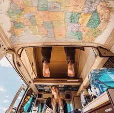 Decke mit Europakarte verkleiden - bereiste Orte mit Stecknadel markieren