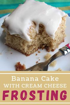 Thise banan cake is so soft and tender. It's wonderful with its signature cream cheese frosting! #bananacake #frostedbananacake 8 Oz Cream Cheese, Cake With Cream Cheese, Cream Cheese Frosting, Dessert Recipes, Desserts, Party Recipes, Incredible Recipes, Vanilla Frosting, Pinterest Recipes