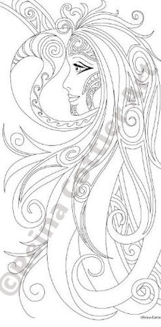 1 of 10 images in Reina Cottier Art Colouring Book. Series One.  Tribal Moon Goddess Buy book here: https://www.etsy.com/listing/240707291/reina-cottier-art-colouring-book-for?ref=shop_home_active_1