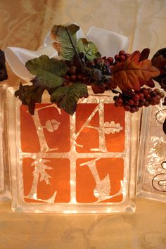 printables for glass blocks Painted Glass Blocks, Decorative Glass Blocks, Lighted Glass Blocks, Thanksgiving Crafts, Fall Crafts, Holiday Crafts, Thanksgiving Decorations, Glass Cube, Glass Boxes