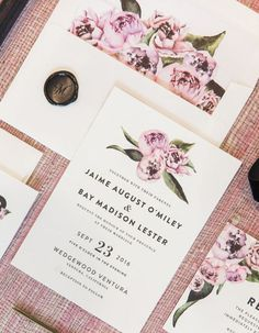 12 Peony-Inspired Wedding Ideas For The Prettiest Day Ever - Wilkie Blog! - Peony accented invitations
