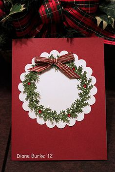 Card - Christmas wreath with bow by Diane's Sweet Treats - (Diane Burke), via Flickr