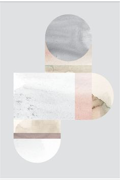Print poster geometric shapes in marble-like watercolor textures in pastel colors on gray by Lene Nørgaard on Stilleben http://www.stillebenshop.com/Product/Index/1801?lang=uk