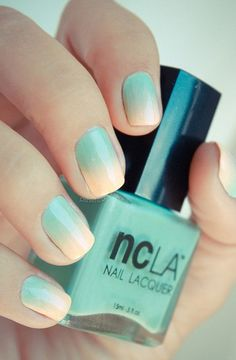 Teal pastel ombre nails, perfect for prom!
