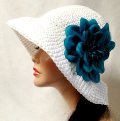 White Crochet Cotton Summer Hat by Africancrab on Etsy, $22.00