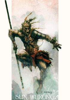 Sun Wukong - the monkey king Monkey Art, Monkey King, Fantasy Races, Fantasy Art, Flor Tattoo, Character Art, Character Design, Monkey Tattoos, Journey To The West