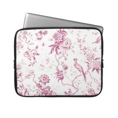 Cute Vintage Bird Pink Floral Laptop Sleeves