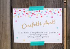 Confetti 3rd birthday: invites and signage by CAKE    100 Layer Cakelet