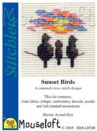So simple yet so good. I love shadow work but this has that lovely splash of colour.  Mouseloft Stitchlets Cross Stitch Kits Sunset Birds