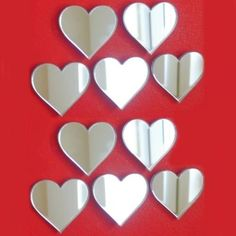 Pack Of 10 Heart Mirrors 4Cm (Crafting & Decorative 3Mm Acrylic Mirrors 4X3Cm)
