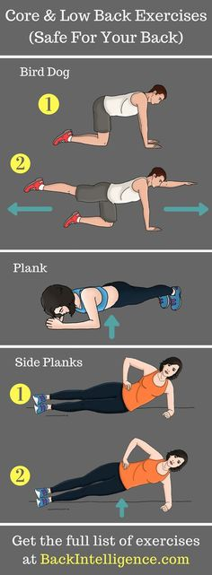 6 Exercises to strengthen lower back and core muscles Core exercises and Low Back exercises to help your back pain. These exercises are not only effective but also good for your spine's health! Advanced Core Exercises, Core Exercises For Women, Core Exercises For Beginners, Exercise For Beginners At Home, Exercise At Home, Exercise Images, At Home Core Workout, Best Core Workouts, At Home Workouts