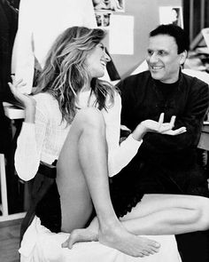RIP Azzedine Alaïa a true icon and visionary. His greatest idol was Madeleine Vionnet. He may not know it but his genius has surpassed hers. He makes women feel empowered absolutely original.-Manolo Blahnik. || @gisele with Azzedine Alaïa for ELLEs The Artist and His Model in 2003. Photo by @gilles_bensimon via ELLE USA MAGAZINE OFFICIAL INSTAGRAM - Fashion Campaigns  Haute Couture  Advertising  Editorial Photography  Magazine Cover Designs  Supermodels  Runway Models