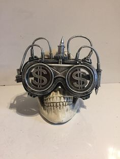 fe07fa3fe81 Steampunk Goggles With Flip Up Lenses With Dollar Sign Fronts And Pipework