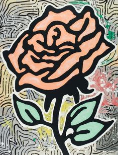 Lococo Fine Art   Publisher of Fine Art Prints   Donald Baechler   Peach Rose