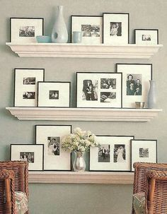I love the floating shelves and the picture frames look so classy! This is an awesome way to use the shelves and display your favorite photos!