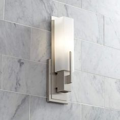Possini Euro Midtown High Satin Nickel Wall Sconce is a quality Bathroom Lighting for your home decor ideas. Bar Light Fixtures, Bathroom Light Fixtures, Bathroom Lighting, Kitchen Lighting, Bathroom Wall Sconces, Master Bathroom, Lake Bathroom, Downstairs Bathroom, Glass Wall Lights