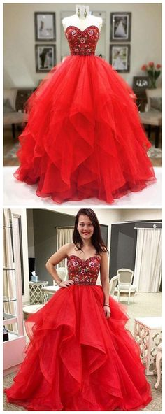 Red tulle sweetheart neck long prom dress, red evening dress Prom Gowns, Formal Women Dress P0615 #promdresses #longpromdress #2018promdresses #fashionpromdresses #charmingpromdresses #2018newstyles #fashions #styles #hiprom #prom #ballgown #redprom #laceprom #sweet16dresses #quinceaneradresses