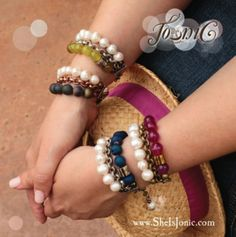 TRIO Peek-ock-a-boo Lu Collection:  Inspirational triple stranded bracelets with vintage metals, jewel tone stones & freshwater pearls. Shop now at www.sheisjonic.com