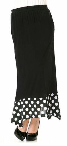 Black White Polka Dot Maxi Skirt