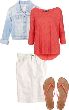 """Casual Coral"" by sandy-simmons ❤ liked on Polyvore"