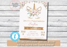 Birthday Party Options – Creative Birthday Party Ideas That Works Baby Shower Roses, Unicorn Baby Shower, Floral Baby Shower, Unicorn Birthday Invitations, Unicorn Birthday Parties, Unicorn Party, Gold Invitations, Floral Invitation, Baby Shower Invitations