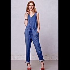 "Anthropologie Holding Horses Denim Overalls S /6 Anthropologie Holding Horses Denim Jumper / Jumpsuit / Overalls soft ""worn in"" tencel blend with some stretch jumpsuit with elastic & drawstring waist  eyelet lace sides, button front & criss cross adjustable button straps in the back side pockets and button tabs at the hem   New With Tags  *  Size:   S / 6 retail price: $148.00  63% tencel * 35% cotton * 2% spandex machine wash cold  measures: 34"" around bust 36"" around waist relaxed  27""…"