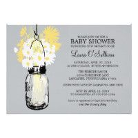 Rustic  Mason Jar Daisies Baby Shower Card