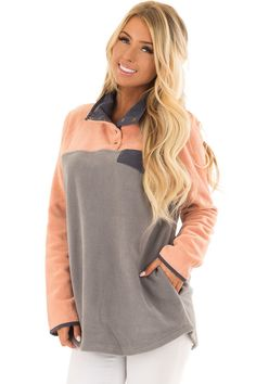 f1c9aee61a0 Lime Lush Boutique - Grey Color Block Fleece Pullover Sweater with Side  Pockets, $42.99 (