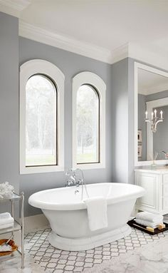 Spa By Sherwin Williams Paint Color Bathroom Design Ideas, Pictures, Remodel and Decor - mindful gray White Bathroom Tiles, Bathroom Paint Colors, Bathroom Tile Designs, Yellow Bathrooms, Bathroom Interior Design, Bathroom Flooring, Bathroom Furniture, Bathroom Cabinets, Gray And White Bathroom Ideas