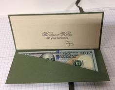 Fabulous money holder...change the paper on the front for any occasion.
