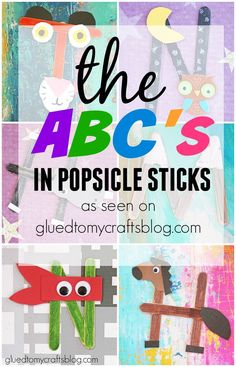 The ABC's In Popsicle Sticks - featured on Glued To My Crafts