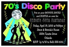 70s DISCO PARTY INVITATIONS for birthday, etc. DIGITAL