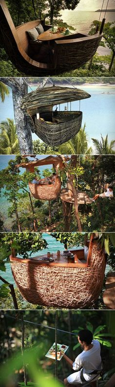 Located on the remote Thai island of Kood, the resort features 42 resort villa and 21 private residences spanning 150 acres of beach and tropical rainforest. But when it's dinner time, prepare to be hoisted up to 26-feet off the ground into a bamboo pod in a eucalyptus tree, with servers zipping in to bring you and up to three others your food and drink.
